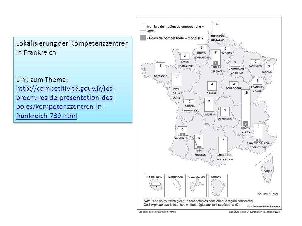 Lokalisierung der Kompetenzzentren in Frankreich Link zum Thema: http://competitivite.gouv.fr/les- brochures-de-presentation-des- poles/kompetenzzentr