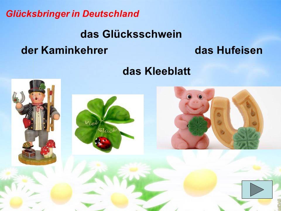 das Glücksschwein das Kleeblatt das Hufeisender Kaminkehrer Glücksbringer in Deutschland
