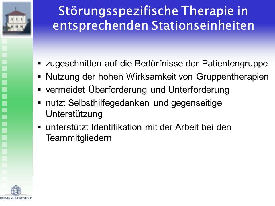 Störungsspezifische Therapie in entsprechenden Stationseinheiten zugeschnitten auf die Bedürfnisse der Patientengruppe Nutzung der hohen Wirksamkeit v