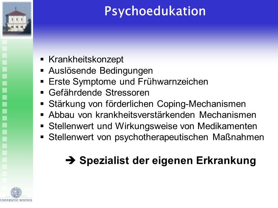 Psychoedukation Krankheitskonzept Auslösende Bedingungen Erste Symptome und Frühwarnzeichen Gefährdende Stressoren Stärkung von förderlichen Coping-Me