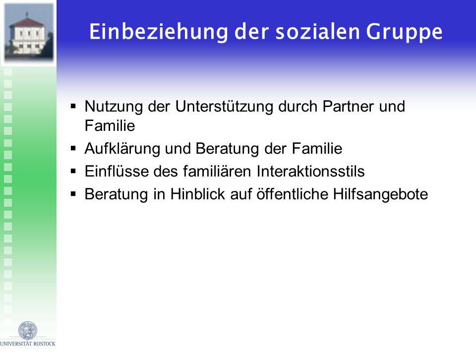 Einbeziehung der sozialen Gruppe Nutzung der Unterstützung durch Partner und Familie Aufklärung und Beratung der Familie Einflüsse des familiären Inte