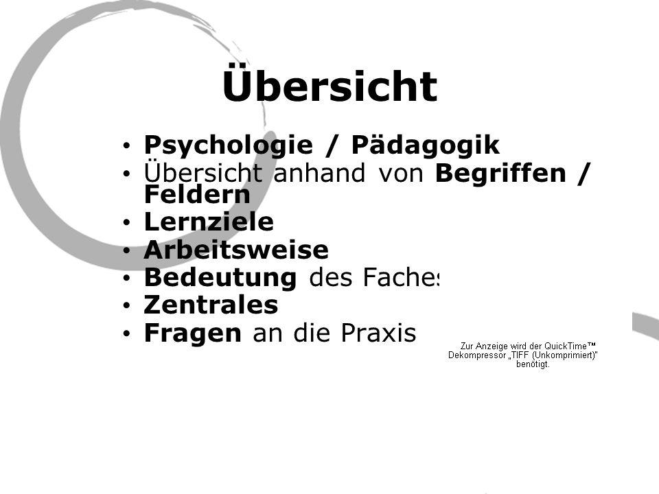Übersicht Psychologie / Pädagogik Übersicht anhand von Begriffen / Feldern Lernziele Arbeitsweise Bedeutung des Faches Zentrales Fragen an die Praxis