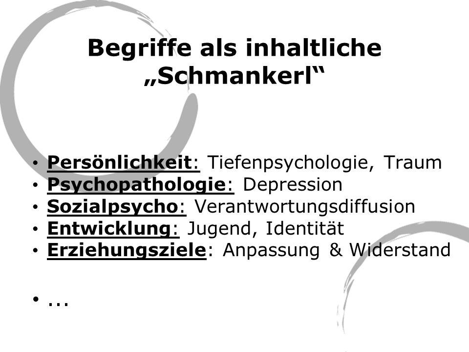 Begriffe als inhaltliche Schmankerl Persönlichkeit: Tiefenpsychologie, Traum Psychopathologie: Depression Sozialpsycho: Verantwortungsdiffusion Entwic