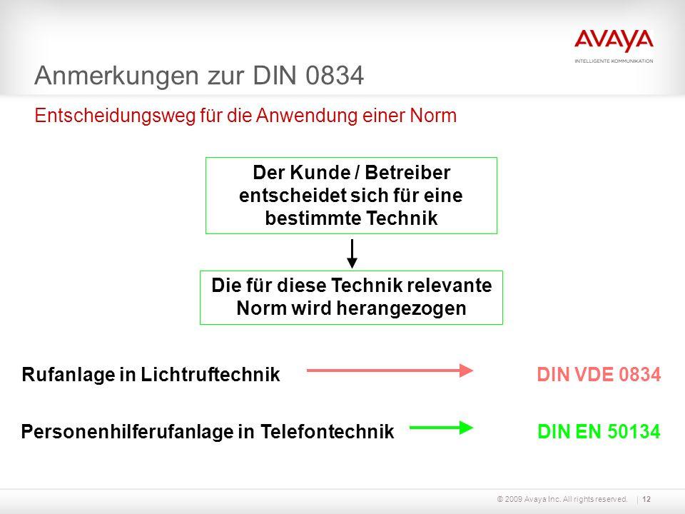 © 2009 Avaya Inc. All rights reserved.12 Anmerkungen zur DIN 0834 Entscheidungsweg für die Anwendung einer Norm Der Kunde / Betreiber entscheidet sich