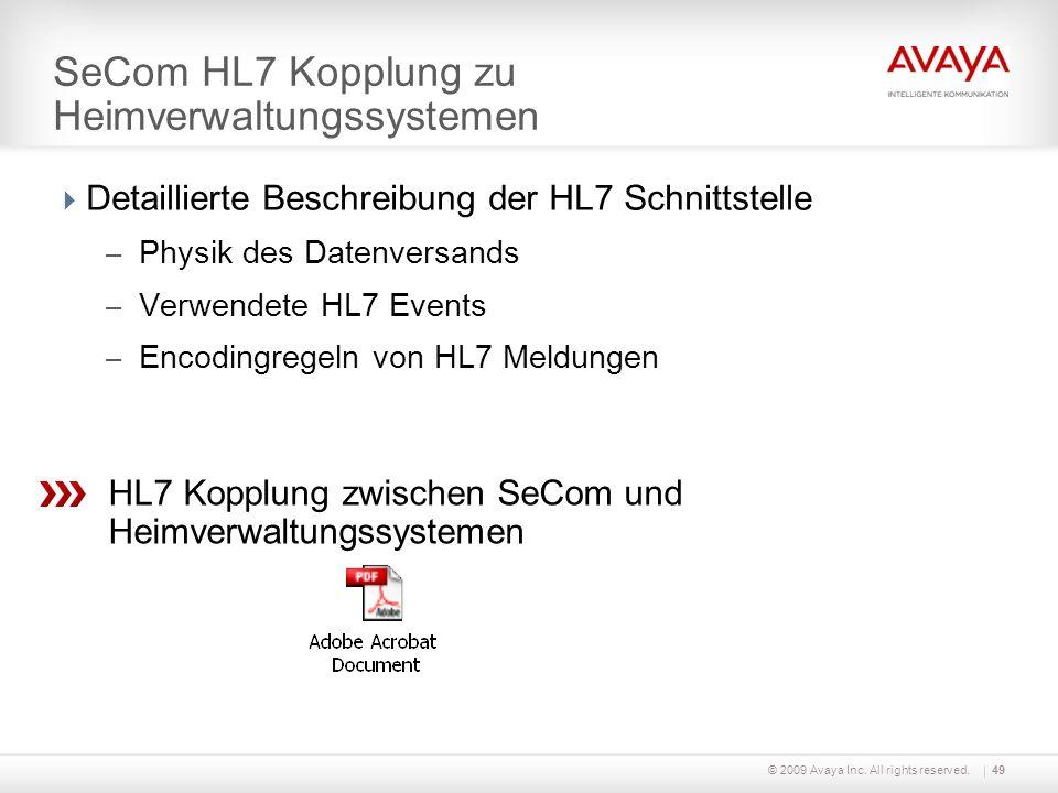 © 2009 Avaya Inc. All rights reserved.49 SeCom HL7 Kopplung zu Heimverwaltungssystemen Detaillierte Beschreibung der HL7 Schnittstelle – Physik des Da