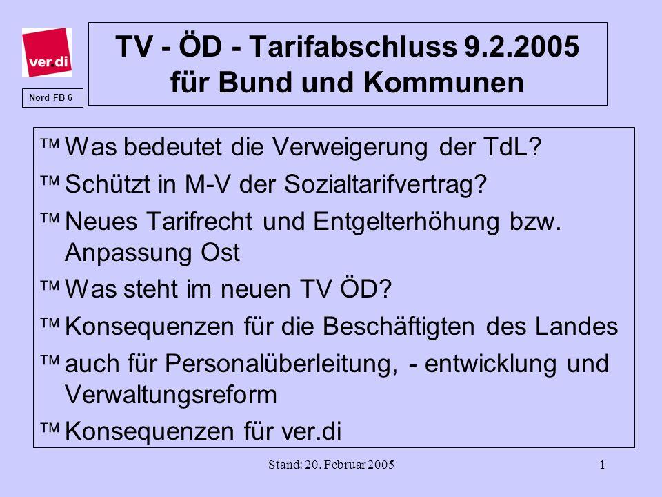 Stand: 20. Februar 20051 TV - ÖD - Tarifabschluss 9.2.2005 für Bund und Kommunen äWas bedeutet die Verweigerung der TdL? äSchützt in M-V der Sozialtar