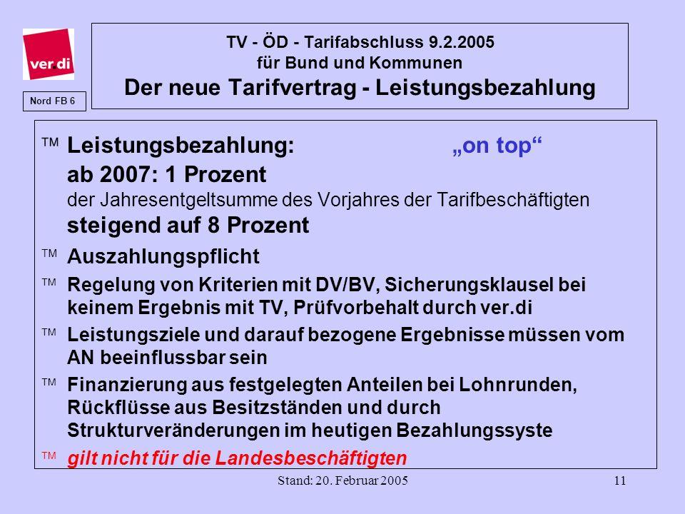 Stand: 20. Februar 200511 TV - ÖD - Tarifabschluss 9.2.2005 für Bund und Kommunen Der neue Tarifvertrag - Leistungsbezahlung ä Leistungsbezahlung: on