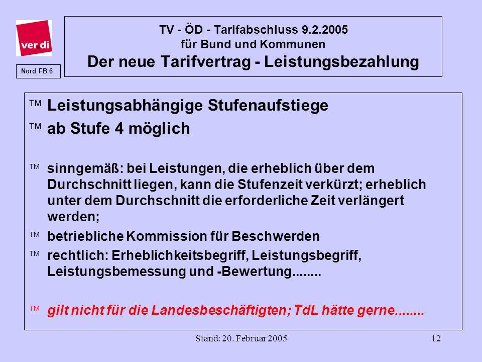 Stand: 20. Februar 200512 TV - ÖD - Tarifabschluss 9.2.2005 für Bund und Kommunen Der neue Tarifvertrag - Leistungsbezahlung äLeistungsabhängige Stufe