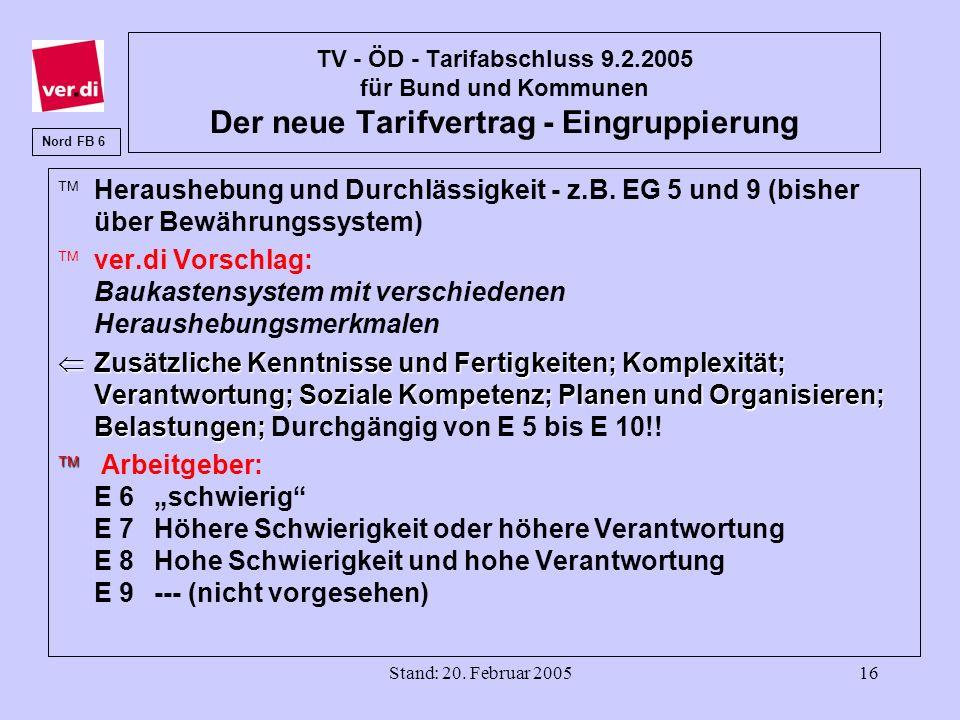 Stand: 20. Februar 200516 TV - ÖD - Tarifabschluss 9.2.2005 für Bund und Kommunen Der neue Tarifvertrag - Eingruppierung ä Heraushebung und Durchlässi