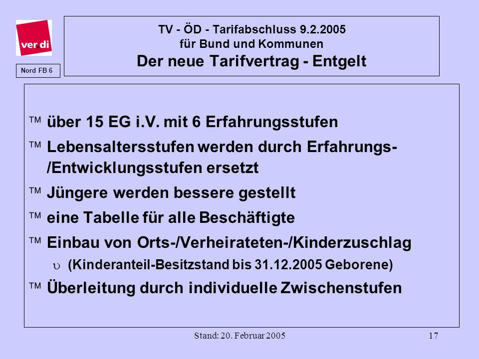 Stand: 20. Februar 200517 TV - ÖD - Tarifabschluss 9.2.2005 für Bund und Kommunen Der neue Tarifvertrag - Entgelt äüber 15 EG i.V. mit 6 Erfahrungsstu
