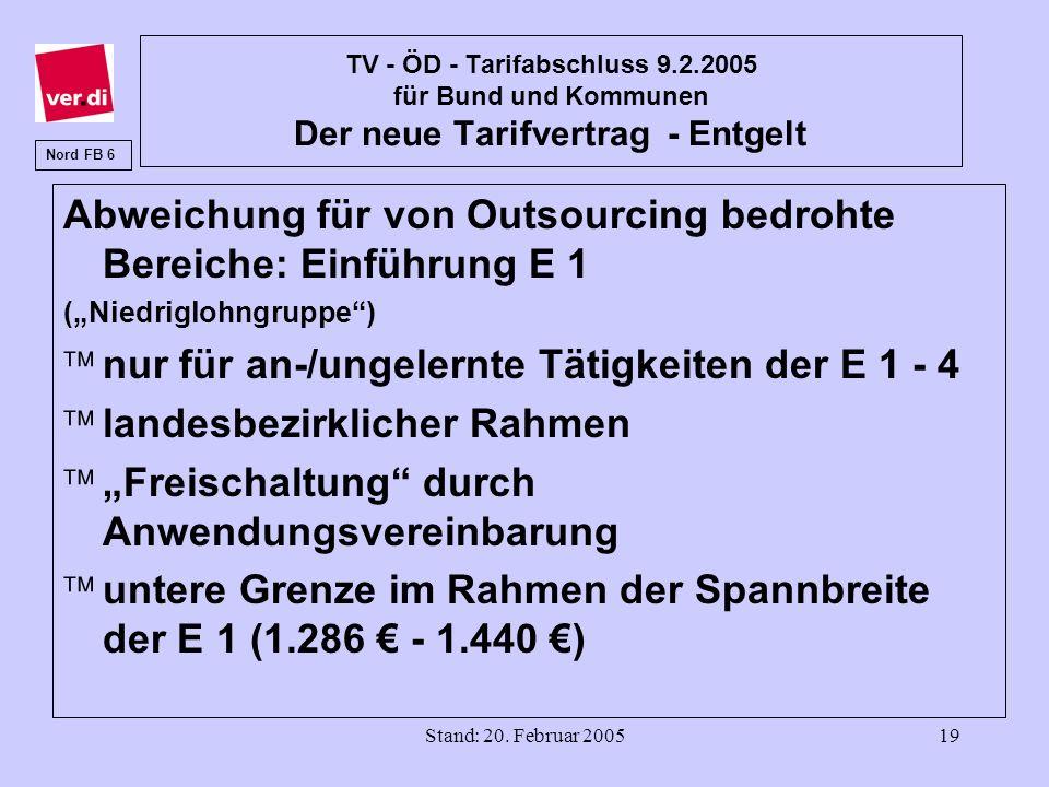 Stand: 20. Februar 200519 TV - ÖD - Tarifabschluss 9.2.2005 für Bund und Kommunen Der neue Tarifvertrag - Entgelt Abweichung für von Outsourcing bedro
