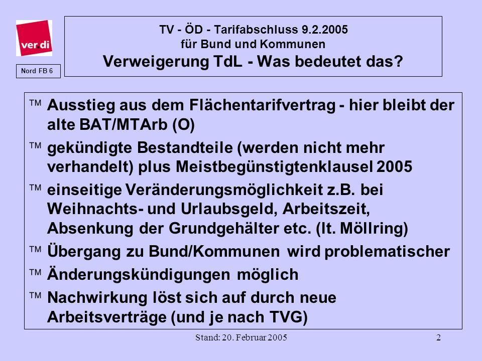 Stand: 20. Februar 20052 TV - ÖD - Tarifabschluss 9.2.2005 für Bund und Kommunen Verweigerung TdL - Was bedeutet das? äAusstieg aus dem Flächentarifve
