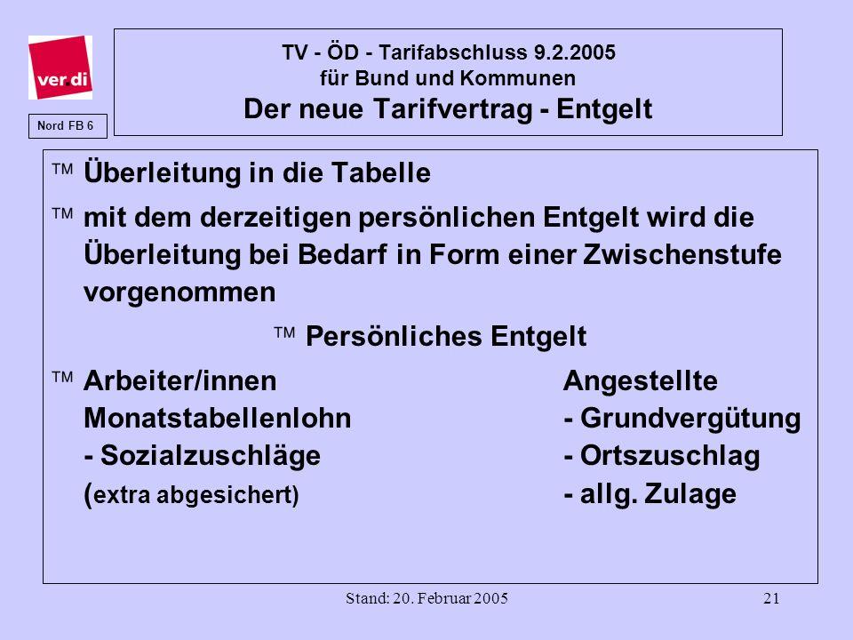 Stand: 20. Februar 200521 TV - ÖD - Tarifabschluss 9.2.2005 für Bund und Kommunen Der neue Tarifvertrag - Entgelt äÜberleitung in die Tabelle ämit dem