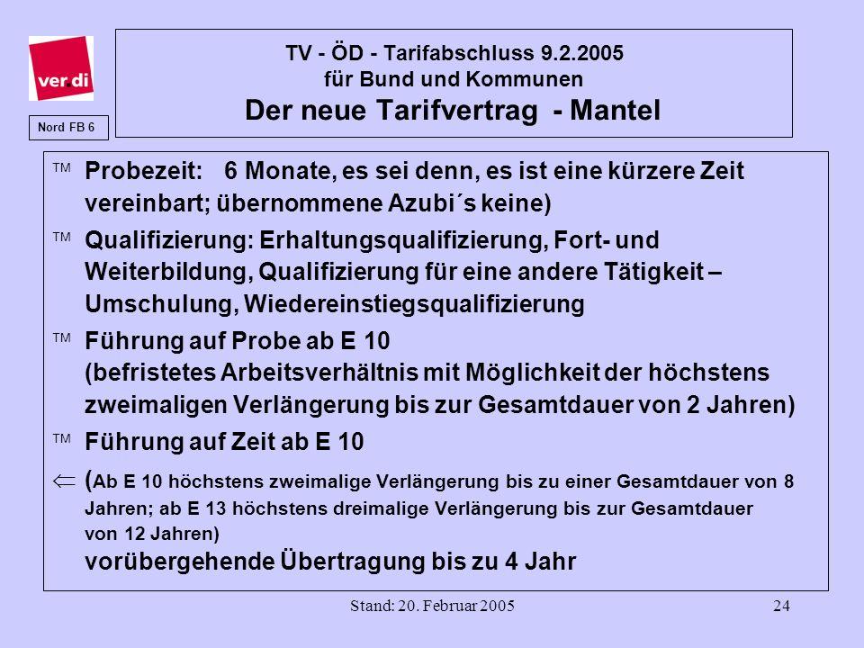 Stand: 20. Februar 200524 TV - ÖD - Tarifabschluss 9.2.2005 für Bund und Kommunen Der neue Tarifvertrag - Mantel Probezeit: 6 Monate, es sei denn, es