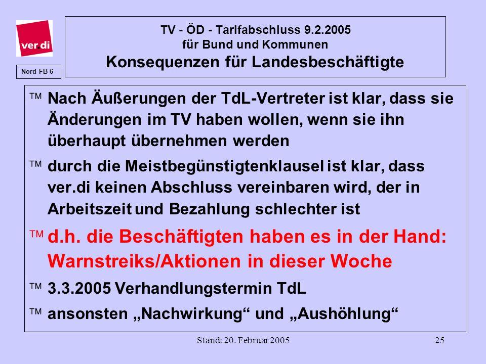 Stand: 20. Februar 200525 TV - ÖD - Tarifabschluss 9.2.2005 für Bund und Kommunen Konsequenzen für Landesbeschäftigte äNach Äußerungen der TdL-Vertret