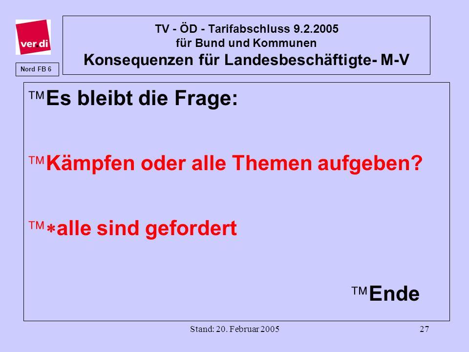 Stand: 20. Februar 200527 TV - ÖD - Tarifabschluss 9.2.2005 für Bund und Kommunen Konsequenzen für Landesbeschäftigte- M-V äEs bleibt die Frage: äKämp