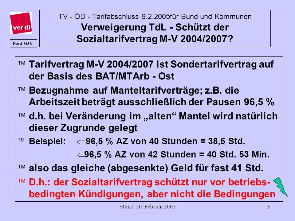 Stand: 20. Februar 20053 TV - ÖD - Tarifabschluss 9.2.2005für Bund und Kommunen Verweigerung TdL - Schützt der Sozialtarifvertrag M-V 2004/2007? äTari