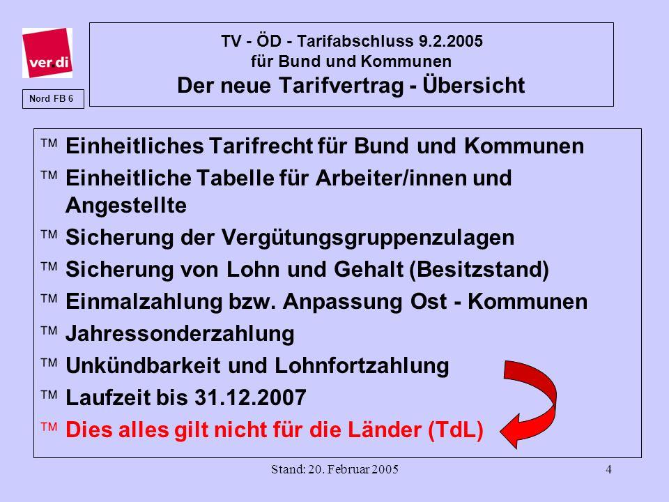 Stand: 20. Februar 20054 TV - ÖD - Tarifabschluss 9.2.2005 für Bund und Kommunen Der neue Tarifvertrag - Übersicht äEinheitliches Tarifrecht für Bund