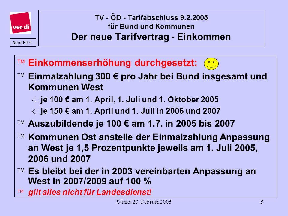 Stand: 20. Februar 20055 TV - ÖD - Tarifabschluss 9.2.2005 für Bund und Kommunen Der neue Tarifvertrag - Einkommen äEinkommenserhöhung durchgesetzt: ä