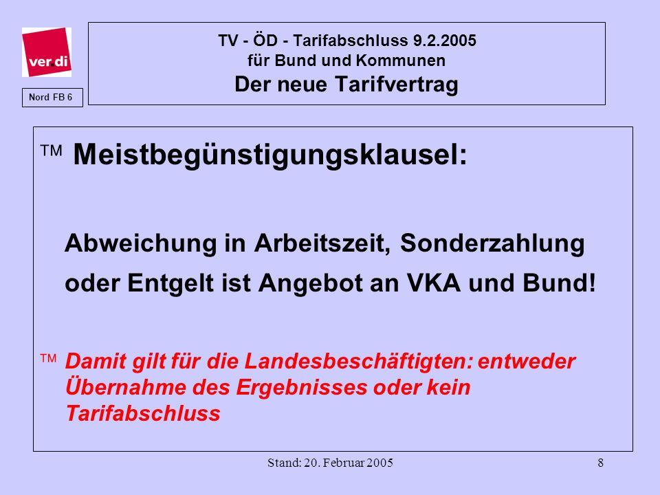 Stand: 20. Februar 20058 TV - ÖD - Tarifabschluss 9.2.2005 für Bund und Kommunen Der neue Tarifvertrag ä Meistbegünstigungsklausel: Abweichung in Arbe