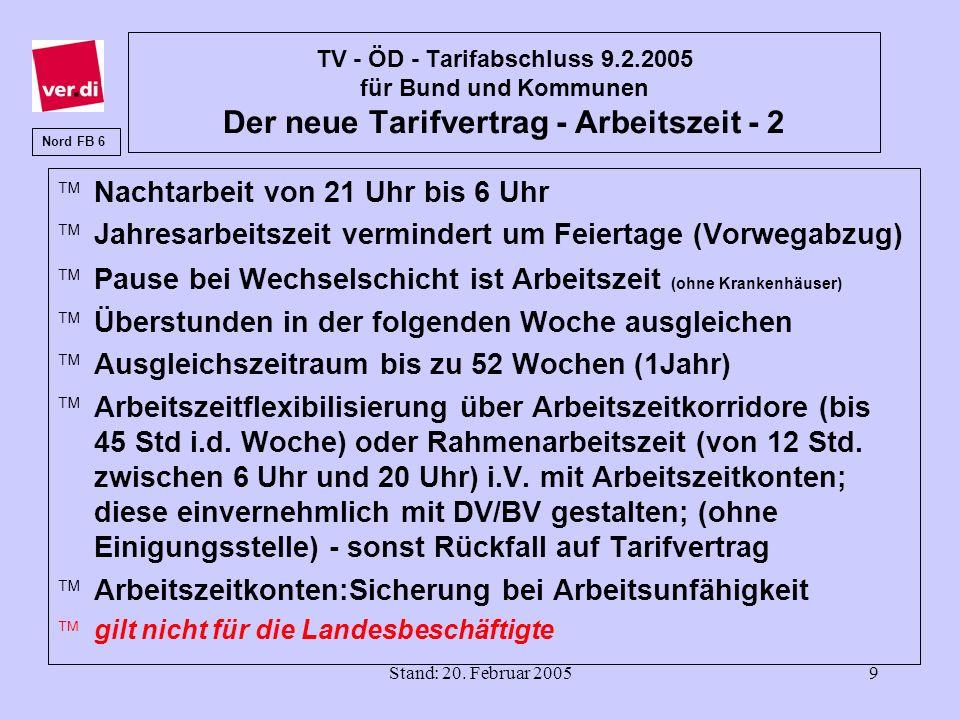 Stand: 20. Februar 20059 TV - ÖD - Tarifabschluss 9.2.2005 für Bund und Kommunen Der neue Tarifvertrag - Arbeitszeit - 2 äNachtarbeit von 21 Uhr bis 6