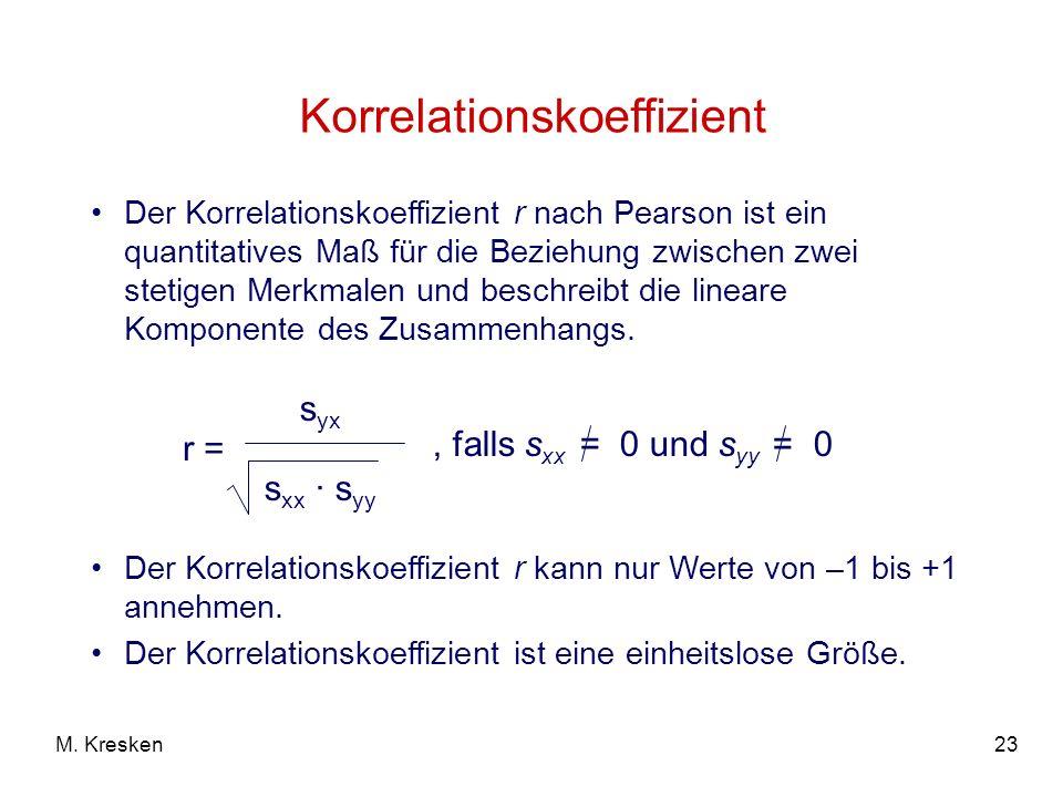 23M. Kresken Korrelationskoeffizient Der Korrelationskoeffizient r nach Pearson ist ein quantitatives Maß für die Beziehung zwischen zwei stetigen Mer