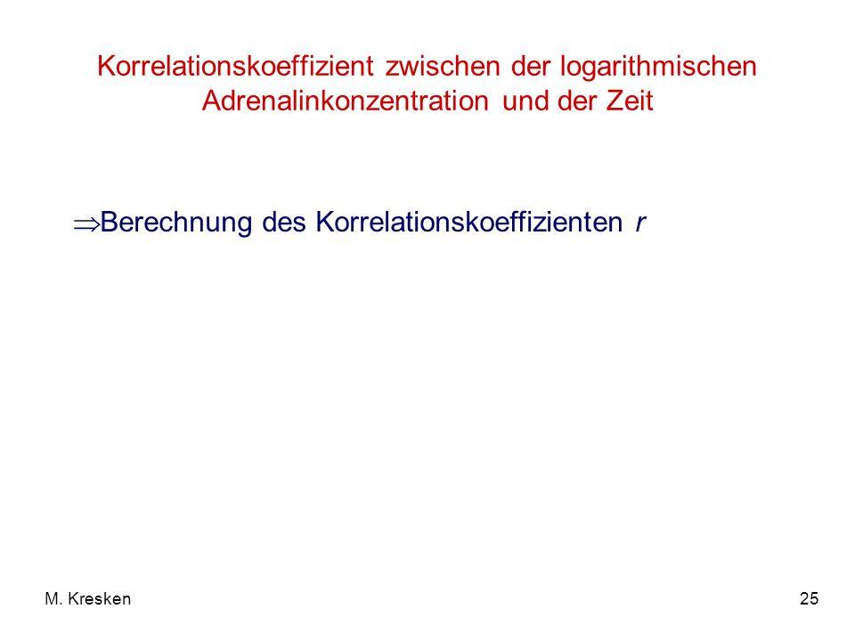 25M. Kresken Korrelationskoeffizient zwischen der logarithmischen Adrenalinkonzentration und der Zeit Berechnung des Korrelationskoeffizienten r