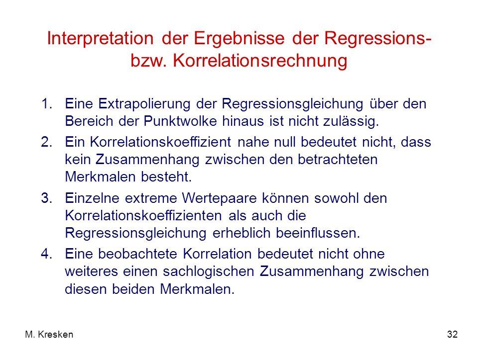 32M. Kresken Interpretation der Ergebnisse der Regressions- bzw. Korrelationsrechnung 1.Eine Extrapolierung der Regressionsgleichung über den Bereich