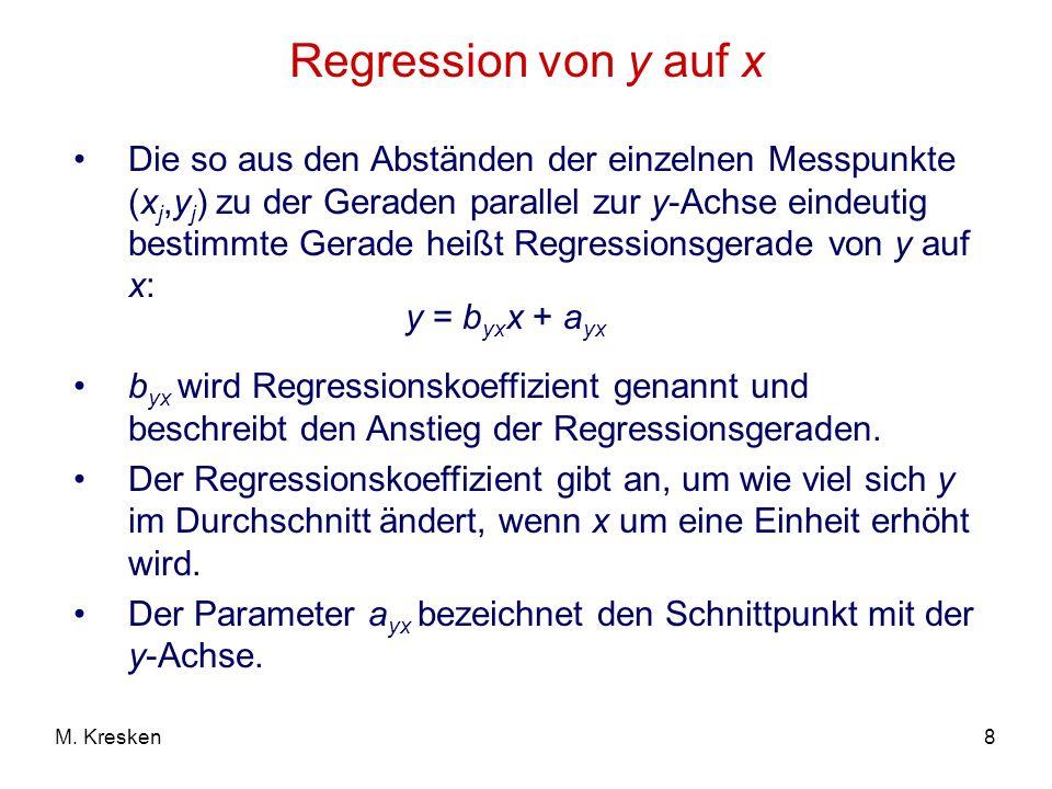 8M. Kresken Regression von y auf x Die so aus den Abständen der einzelnen Messpunkte (x j,y j ) zu der Geraden parallel zur y-Achse eindeutig bestimmt
