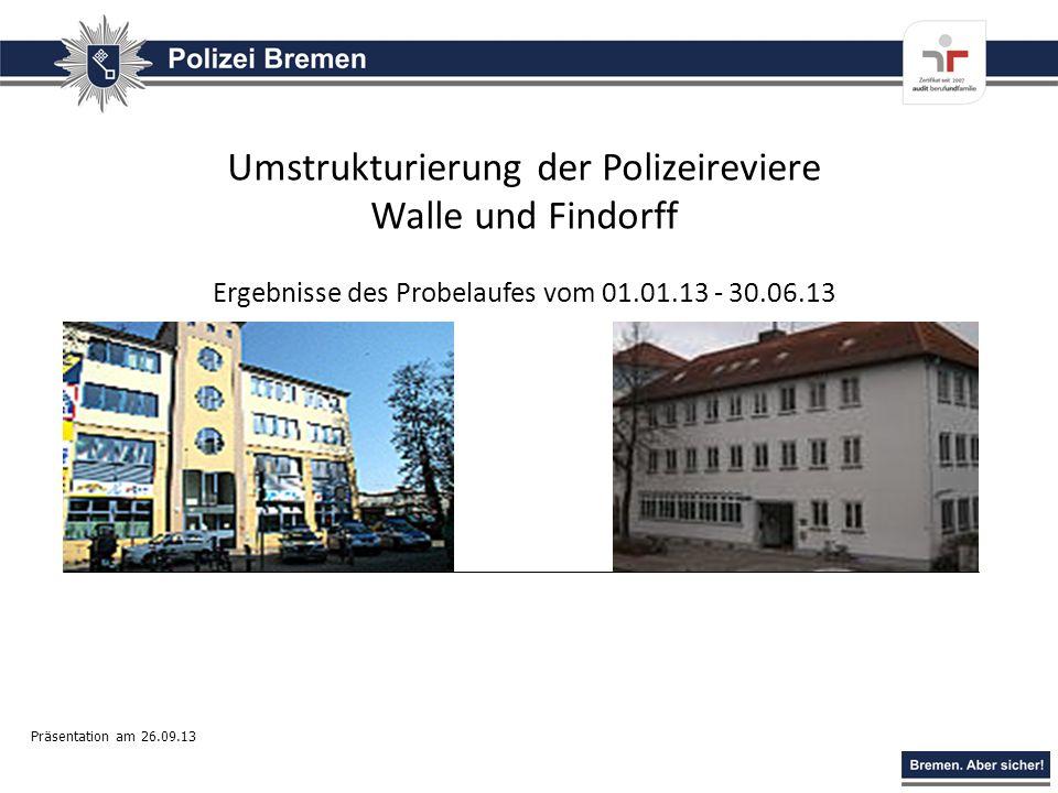 Umstrukturierung der Polizeireviere Walle und Findorff Ergebnisse des Probelaufes vom 01.01.13 - 30.06.13 Präsentation am 26.09.13