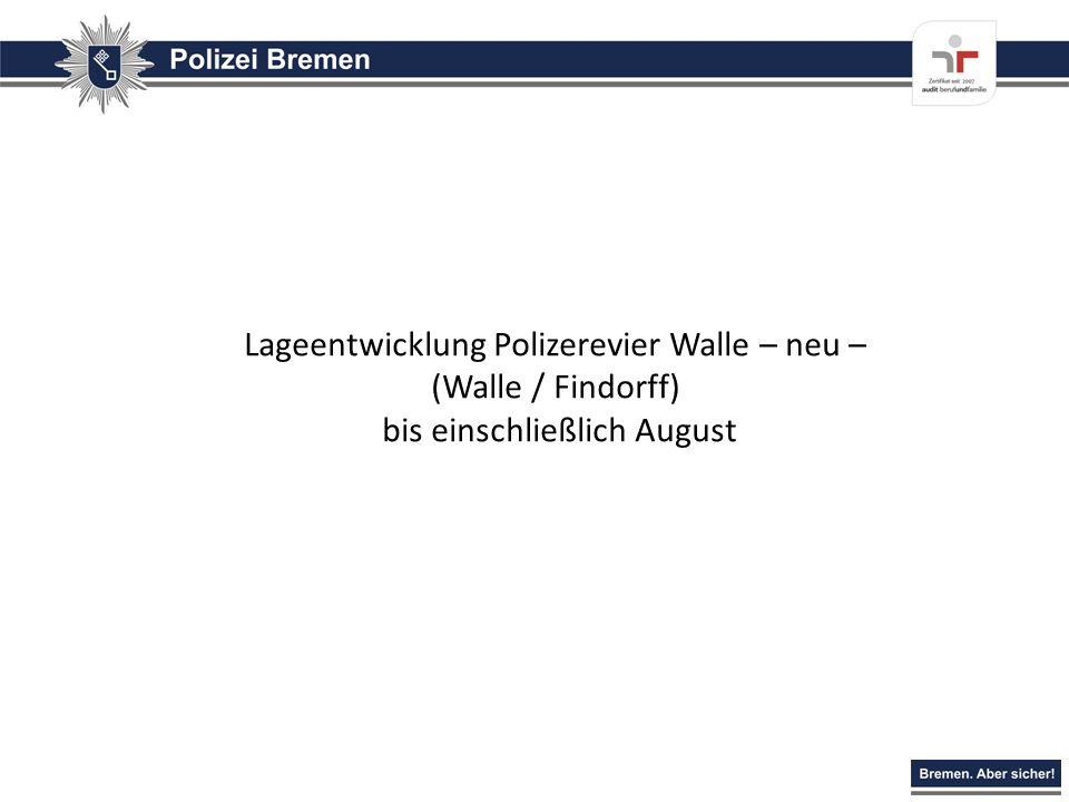 Lageentwicklung Polizerevier Walle – neu – (Walle / Findorff) bis einschließlich August