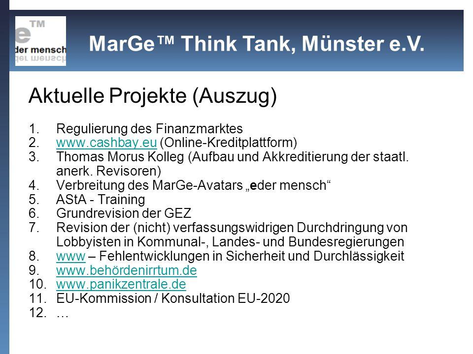 Aktuelle Projekte (Auszug) 1.Regulierung des Finanzmarktes 2.www.cashbay.eu (Online-Kreditplattform)www.cashbay.eu 3.Thomas Morus Kolleg (Aufbau und A