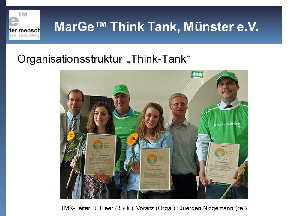 Organisationsstruktur Think-Tank TMK-Leiter: J. Fleer (3.v.li.), Vorsitz (Orga.) : Juergen Niggemann (re.) MarGe Think Tank, Münster e.V.