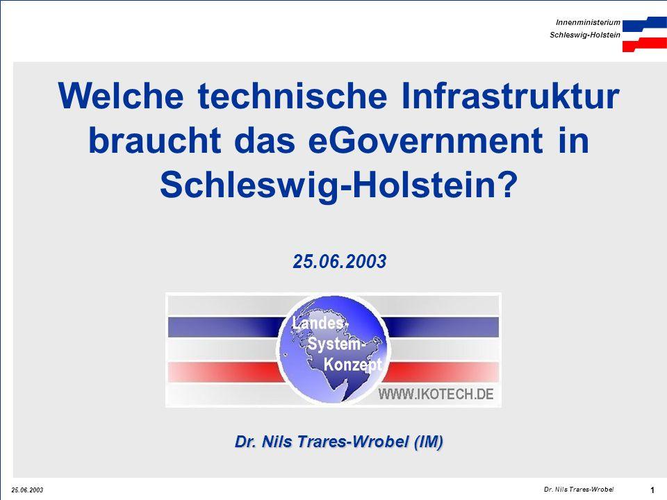 25.06.2003 Innenministerium Schleswig-Holstein 1 Dr. Nils Trares-Wrobel Welche technische Infrastruktur braucht das eGovernment in Schleswig-Holstein?