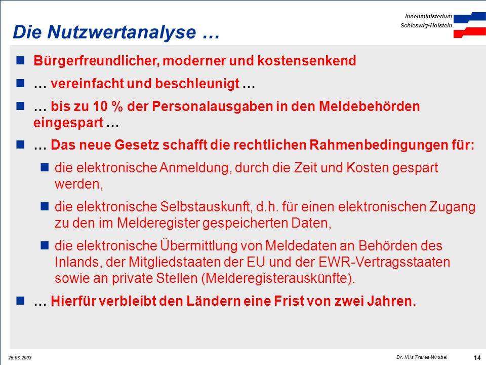 25.06.2003 Innenministerium Schleswig-Holstein 14 Dr. Nils Trares-Wrobel Die Nutzwertanalyse … Bürgerfreundlicher, moderner und kostensenkend … verein