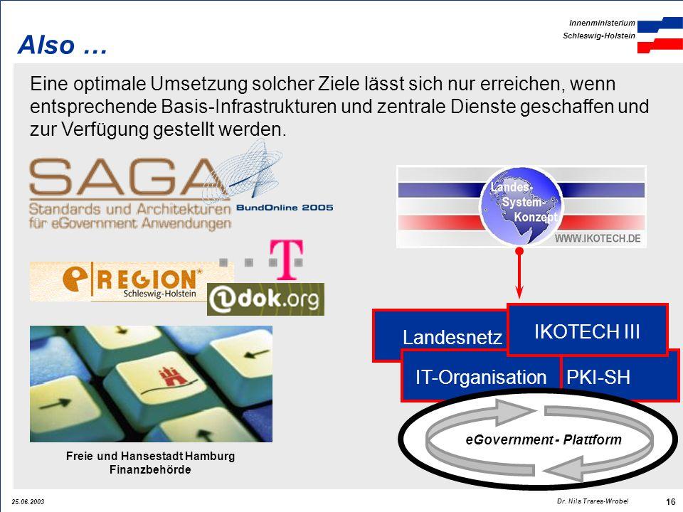 25.06.2003 Innenministerium Schleswig-Holstein 16 Dr. Nils Trares-Wrobel Also … Eine optimale Umsetzung solcher Ziele lässt sich nur erreichen, wenn e