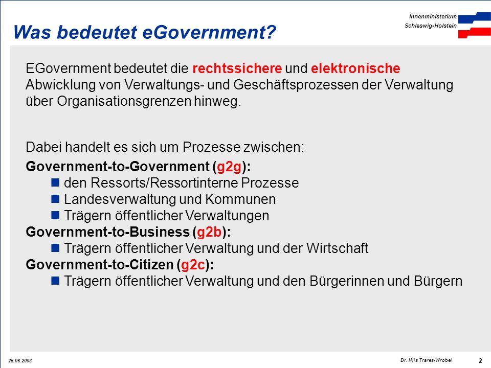 25.06.2003 Innenministerium Schleswig-Holstein 2 Dr. Nils Trares-Wrobel Was bedeutet eGovernment? EGovernment bedeutet die rechtssichere und elektroni