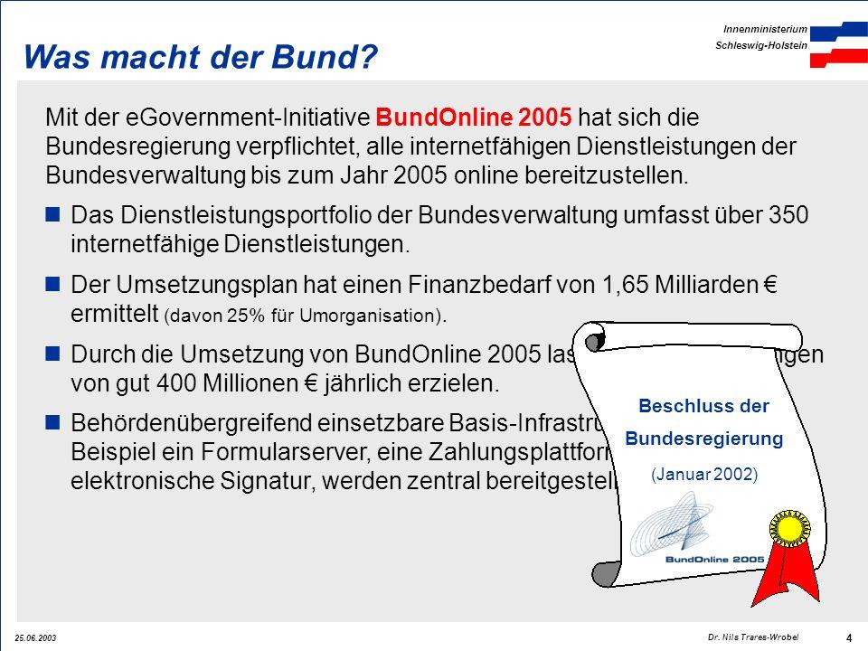 25.06.2003 Innenministerium Schleswig-Holstein 4 Dr. Nils Trares-Wrobel Was macht der Bund? Mit der eGovernment-Initiative BundOnline 2005 hat sich di