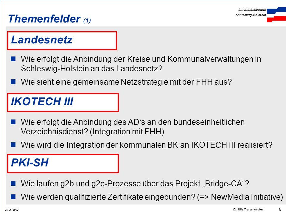 25.06.2003 Innenministerium Schleswig-Holstein 8 Dr. Nils Trares-Wrobel Landesnetz Wie erfolgt die Anbindung der Kreise und Kommunalverwaltungen in Sc