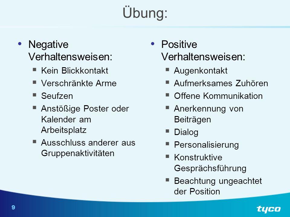 9 Übung: Negative Verhaltensweisen: Kein Blickkontakt Verschränkte Arme Seufzen Anstößige Poster oder Kalender am Arbeitsplatz Ausschluss anderer aus
