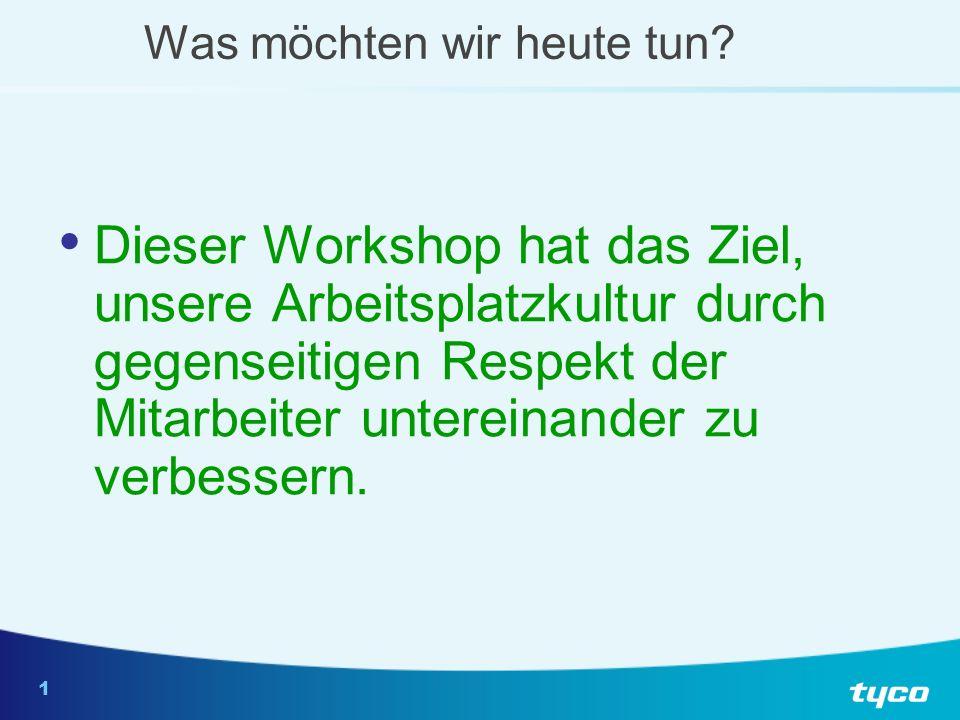 1 Was möchten wir heute tun? Dieser Workshop hat das Ziel, unsere Arbeitsplatzkultur durch gegenseitigen Respekt der Mitarbeiter untereinander zu verb