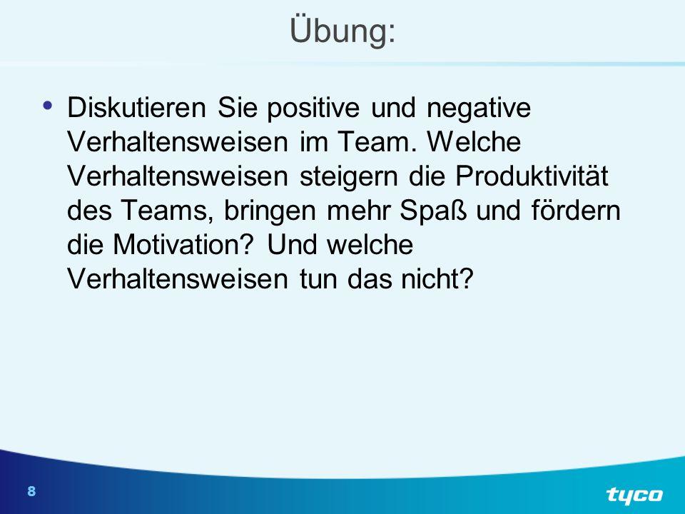 8 Übung: Diskutieren Sie positive und negative Verhaltensweisen im Team. Welche Verhaltensweisen steigern die Produktivität des Teams, bringen mehr Sp