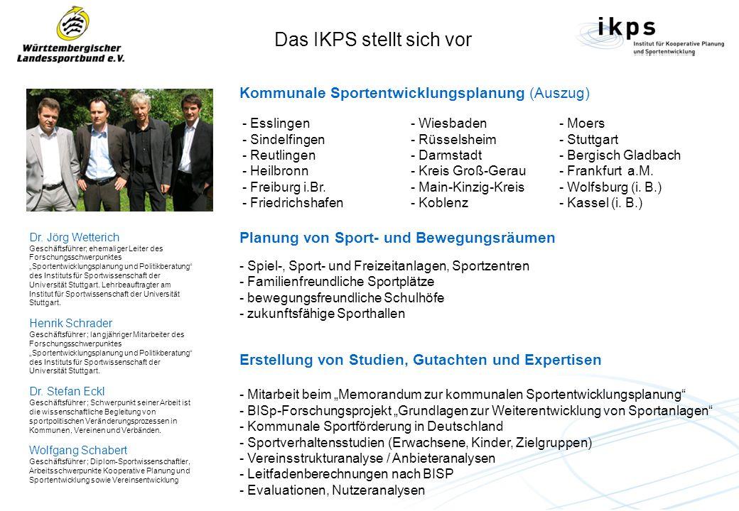 Dr. Jörg Wetterich Geschäftsführer; ehemaliger Leiter des Forschungsschwerpunktes Sportentwicklungsplanung und Politikberatung des Instituts für Sport