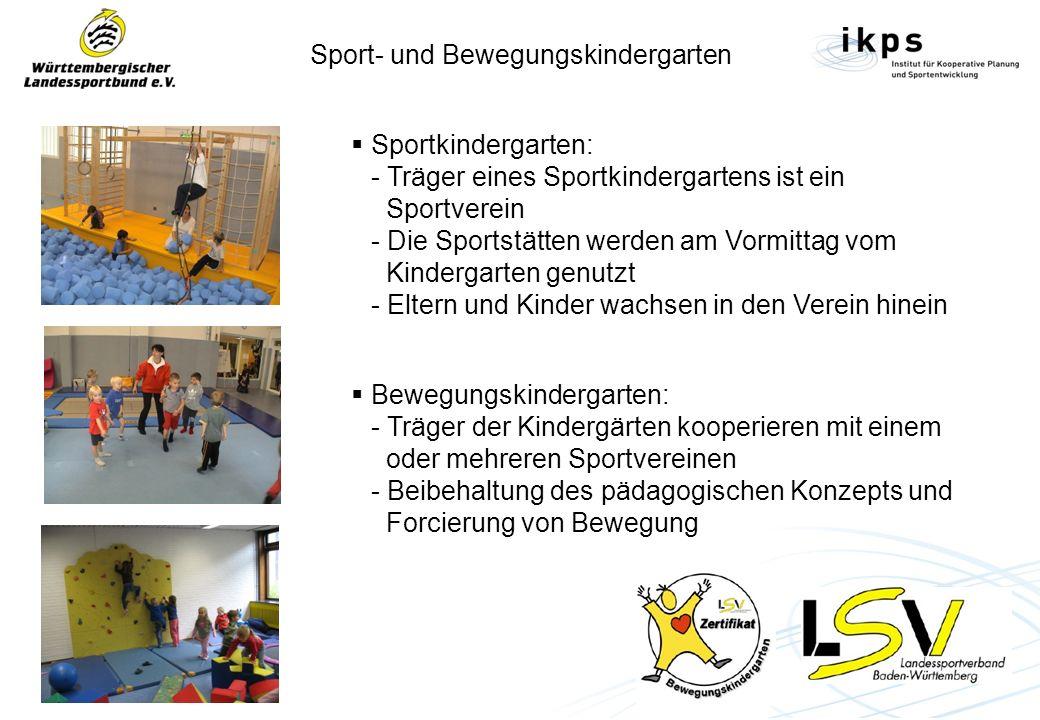 Sport- und Bewegungskindergarten Sportkindergarten: - Träger eines Sportkindergartens ist ein Sportverein - Die Sportstätten werden am Vormittag vom K