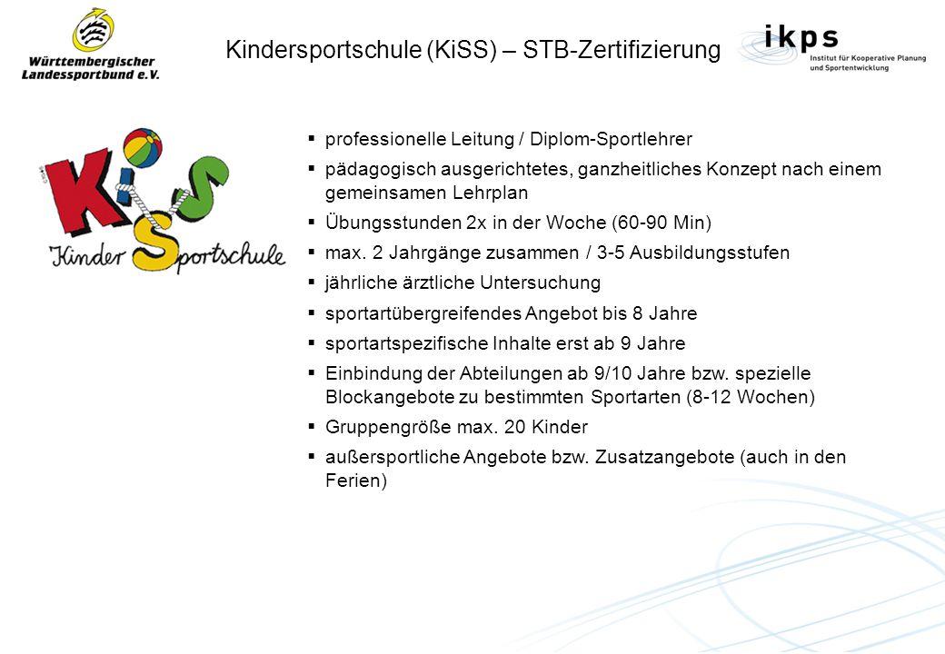 Kindersportschule (KiSS) – STB-Zertifizierung professionelle Leitung / Diplom-Sportlehrer pädagogisch ausgerichtetes, ganzheitliches Konzept nach eine