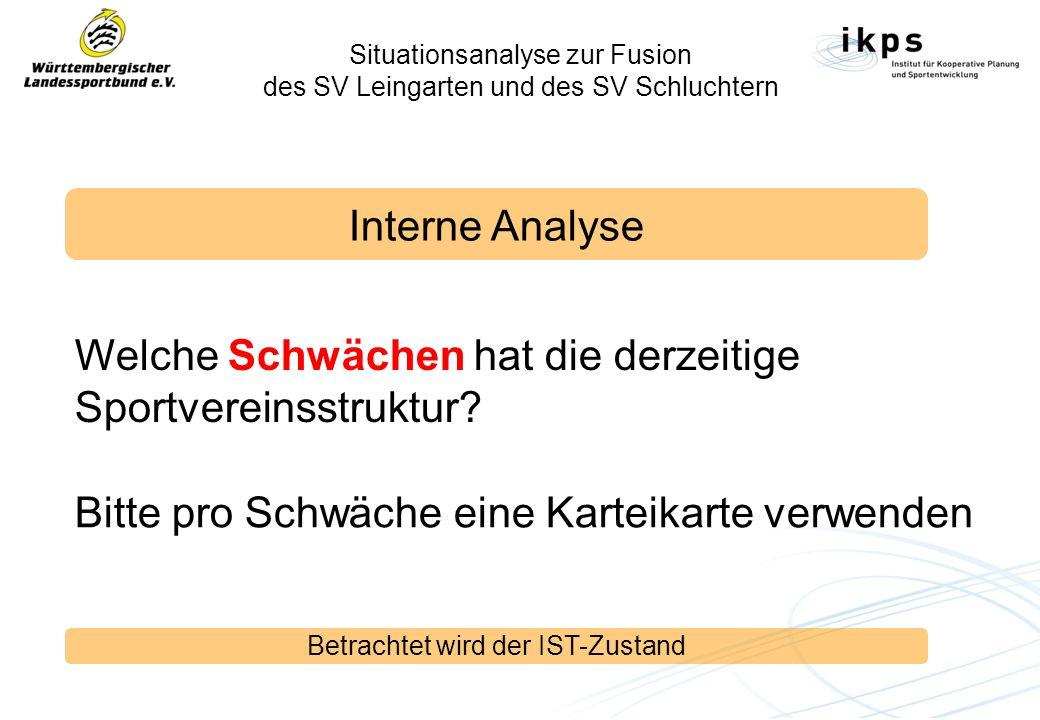 Situationsanalyse zur Fusion des SV Leingarten und des SV Schluchtern Interne Analyse Welche Schwächen hat die derzeitige Sportvereinsstruktur? Betrac