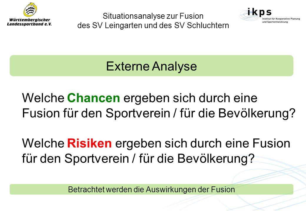 Situationsanalyse zur Fusion des SV Leingarten und des SV Schluchtern Externe Analyse Welche Chancen ergeben sich durch eine Fusion für den Sportverein / für die Bevölkerung.