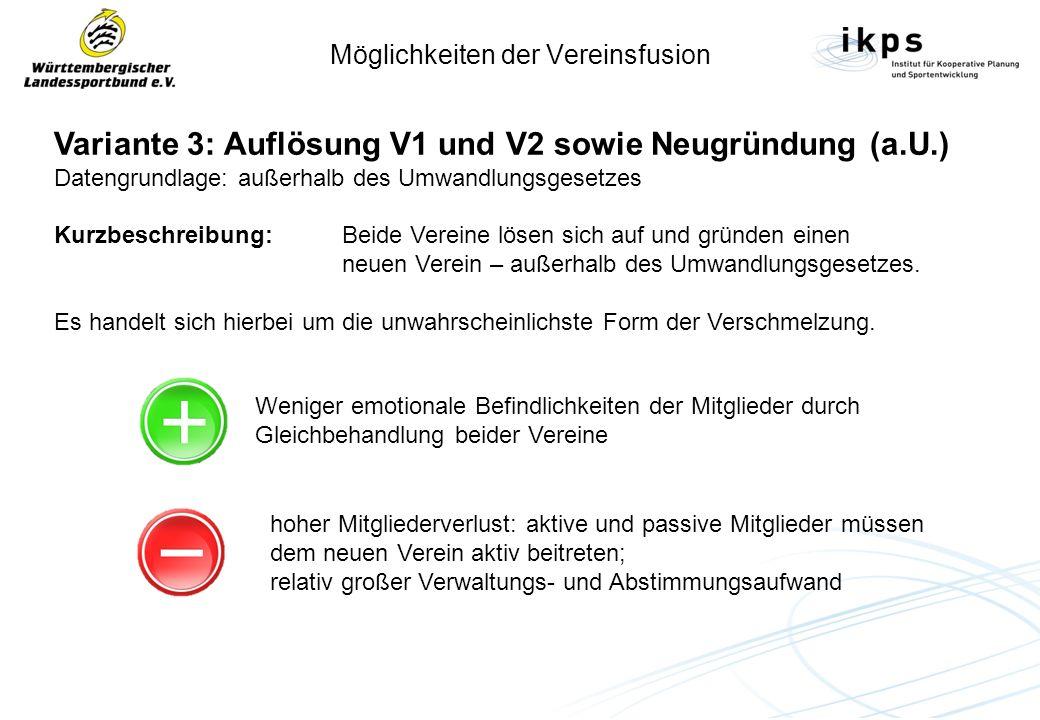 Möglichkeiten der Vereinsfusion Variante 3: Auflösung V1 und V2 sowie Neugründung (a.U.) Datengrundlage: außerhalb des Umwandlungsgesetzes Kurzbeschre