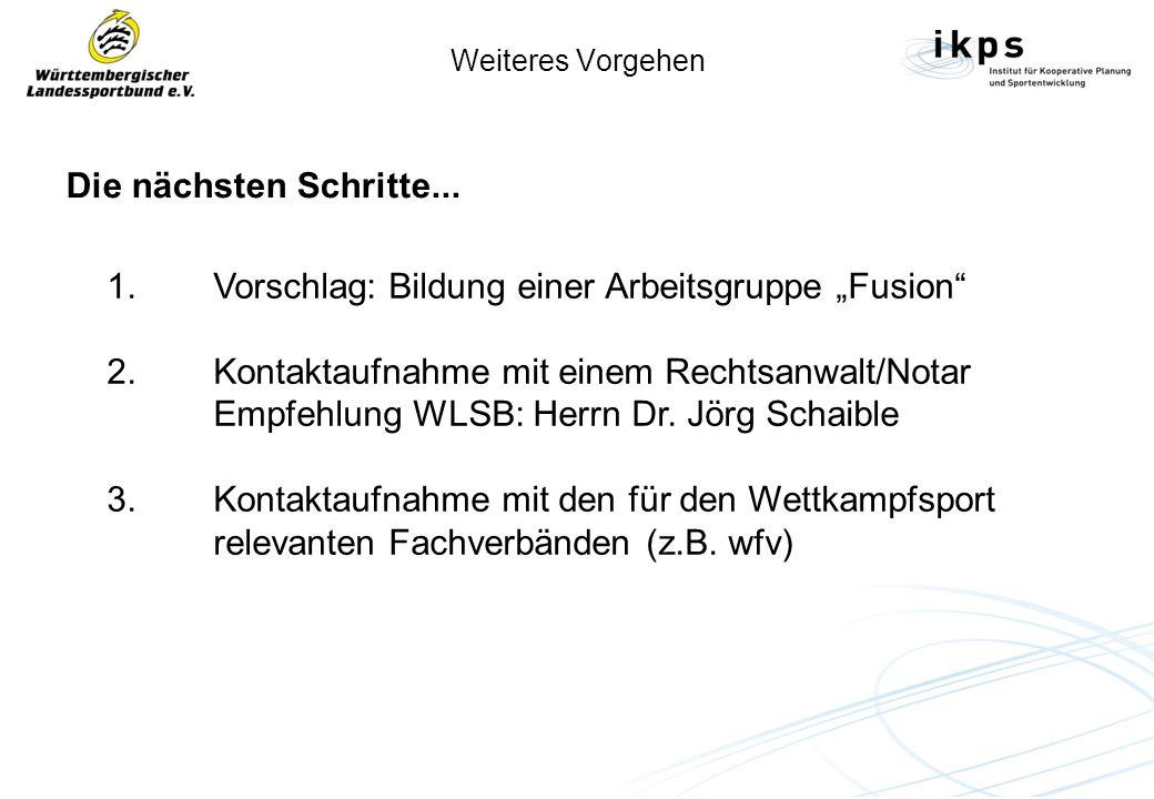 Weiteres Vorgehen Die nächsten Schritte... 1. Vorschlag: Bildung einer Arbeitsgruppe Fusion 2. Kontaktaufnahme mit einem Rechtsanwalt/Notar Empfehlung