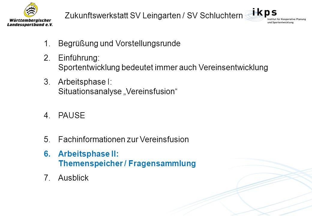 Zukunftswerkstatt SV Leingarten / SV Schluchtern 1.Begrüßung und Vorstellungsrunde 2.Einführung: Sportentwicklung bedeutet immer auch Vereinsentwicklung 3.Arbeitsphase I: Situationsanalyse Vereinsfusion 4.PAUSE 5.Fachinformationen zur Vereinsfusion 6.Arbeitsphase II: Themenspeicher / Fragensammlung 7.Ausblick
